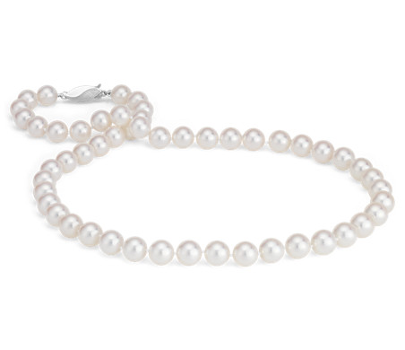 Classic Akoya Cultured Pearl Strand Necklace in 18k White Gold