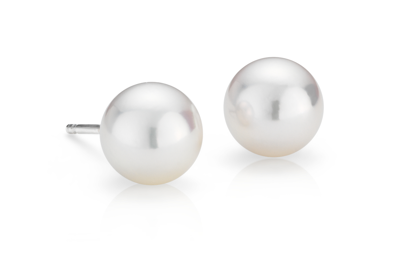 Puces d'oreilles de perles de culture d'Akoya classiques en or blanc 18carats (7,0-7,5mm)
