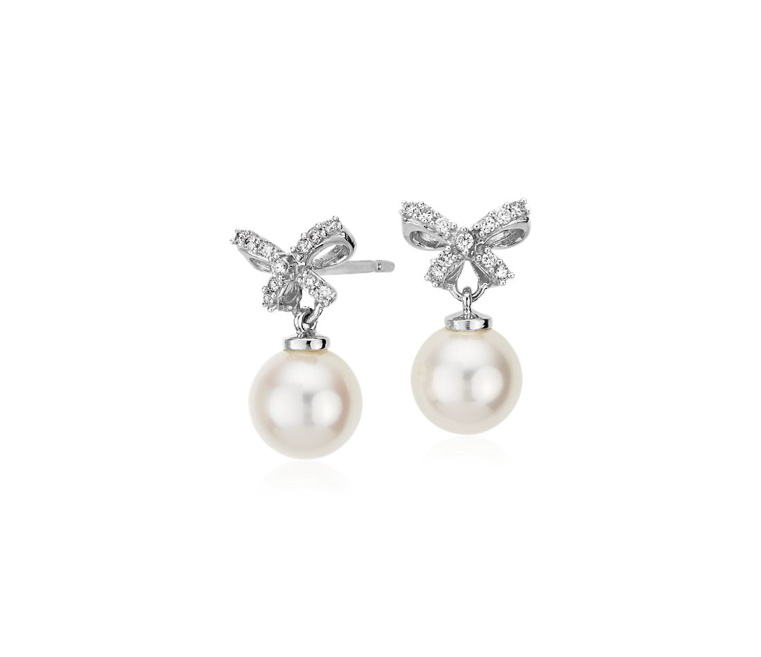 Freshwater Cultured Pearl And Diamond Bow Drop Earrings In 18k White Gold  (7mm)
