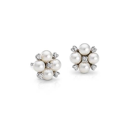 Akoya Cultured Pearl And Diamond Cluster Earrings In 18k