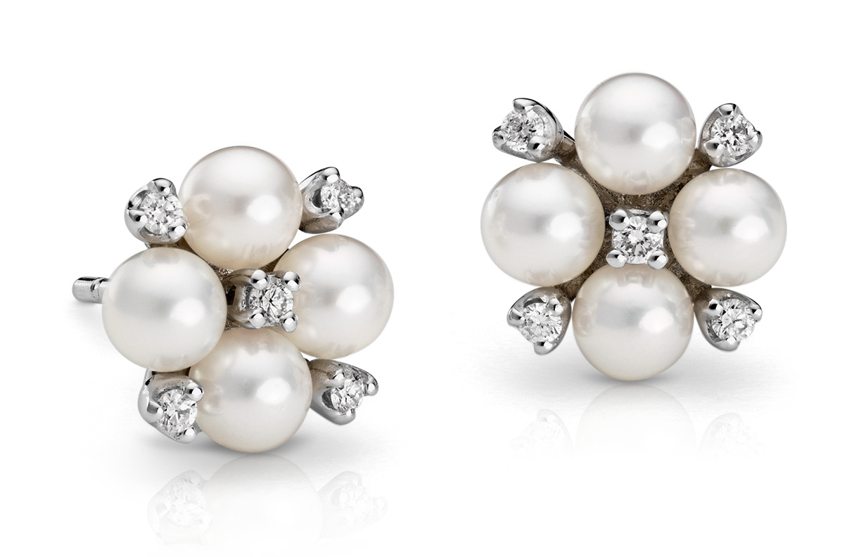 Akoya Cultured Pearl and Diamond Cluster Earrings in 18k White Gold (4mm)