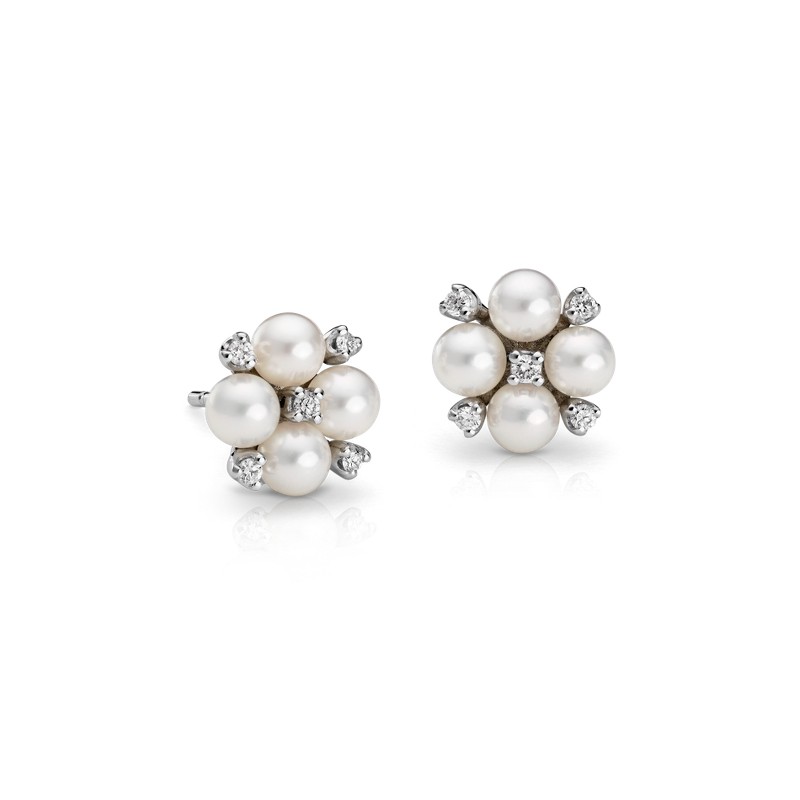 Akoya Cultured Pearl and Diamond Cluster Earrings in 18k White Go
