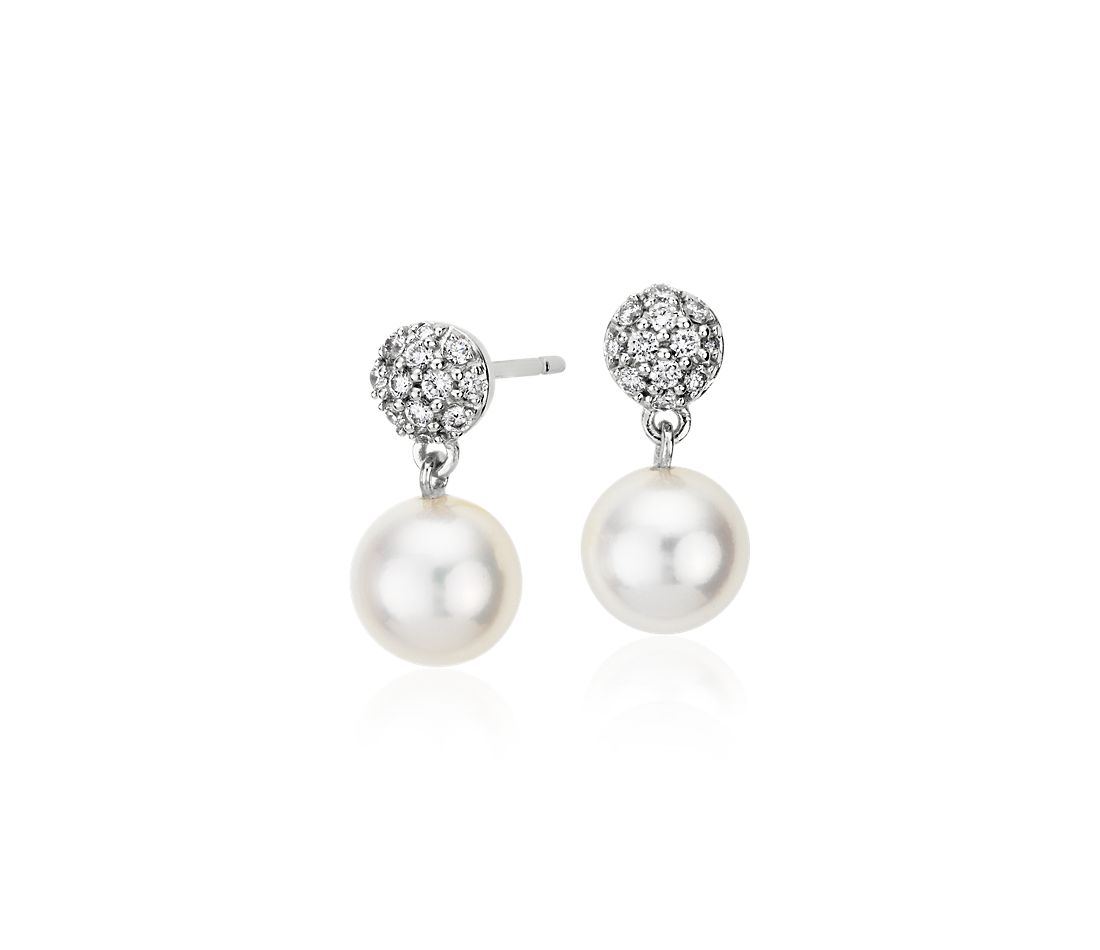 Freshwater Cultured Pearl and Diamond Drop Earrings in 18k