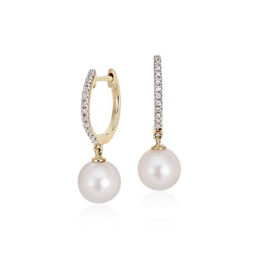 Akoya Cultured Pearl And Diamond Drop Hoop Earrings In 14k