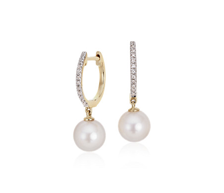 Akoya Cultured Pearl and Diamond Drop Hoop Earrings in 14k Yellow Gold (6.5mm)