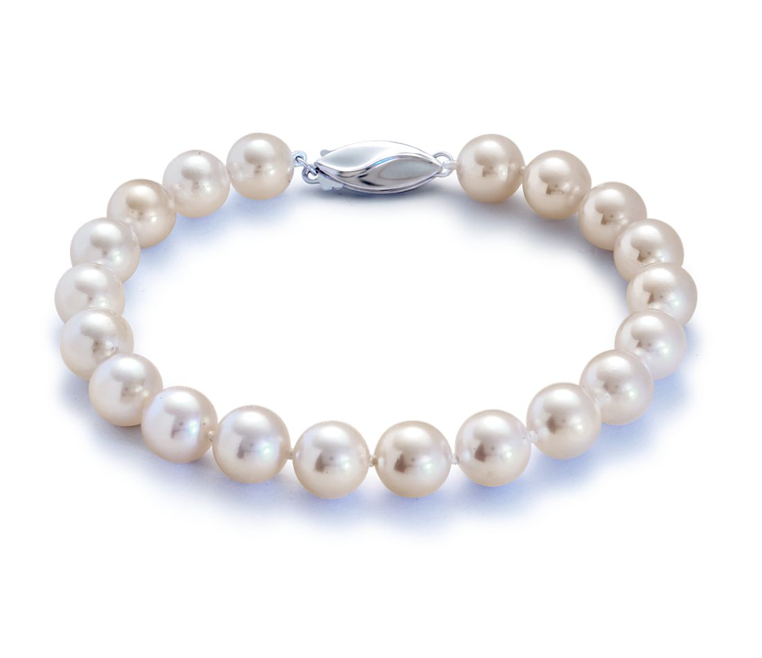 Classic Akoya Cultured Pearl Bracelet with 18k White Gold (6.5-7.0mm)