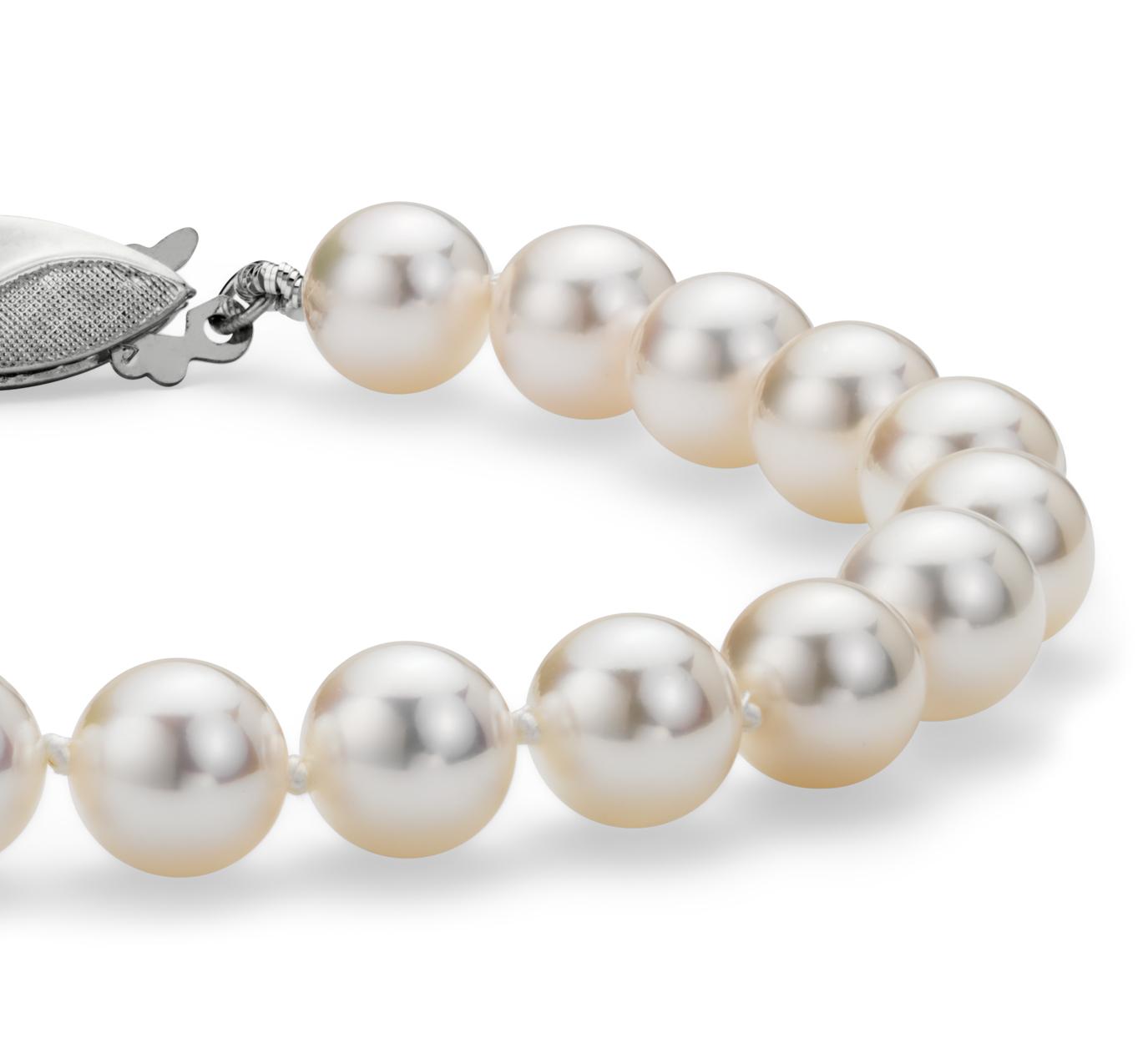 Bracelet de perles de culture d'Akoya classique avec or blanc 18carats (6,5-7,0mm)