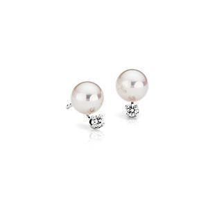 Puces d'oreilles diamant et perle de culture d'Akoya de la plus haute qualité en or blanc 18carats (6,0-6,5mm)