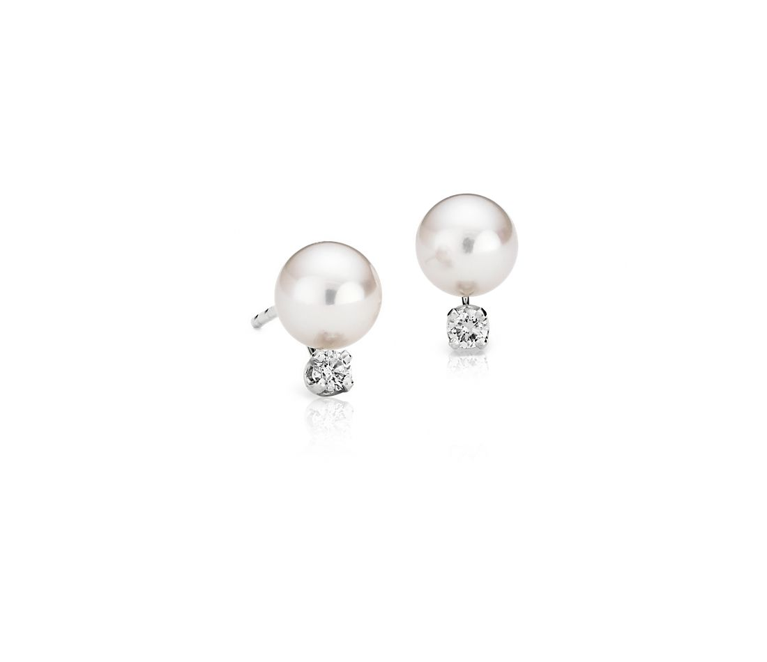 Classic Akoya Cultured Pearl and Diamond Earrings in 18k White Gold (6-6.5mm)