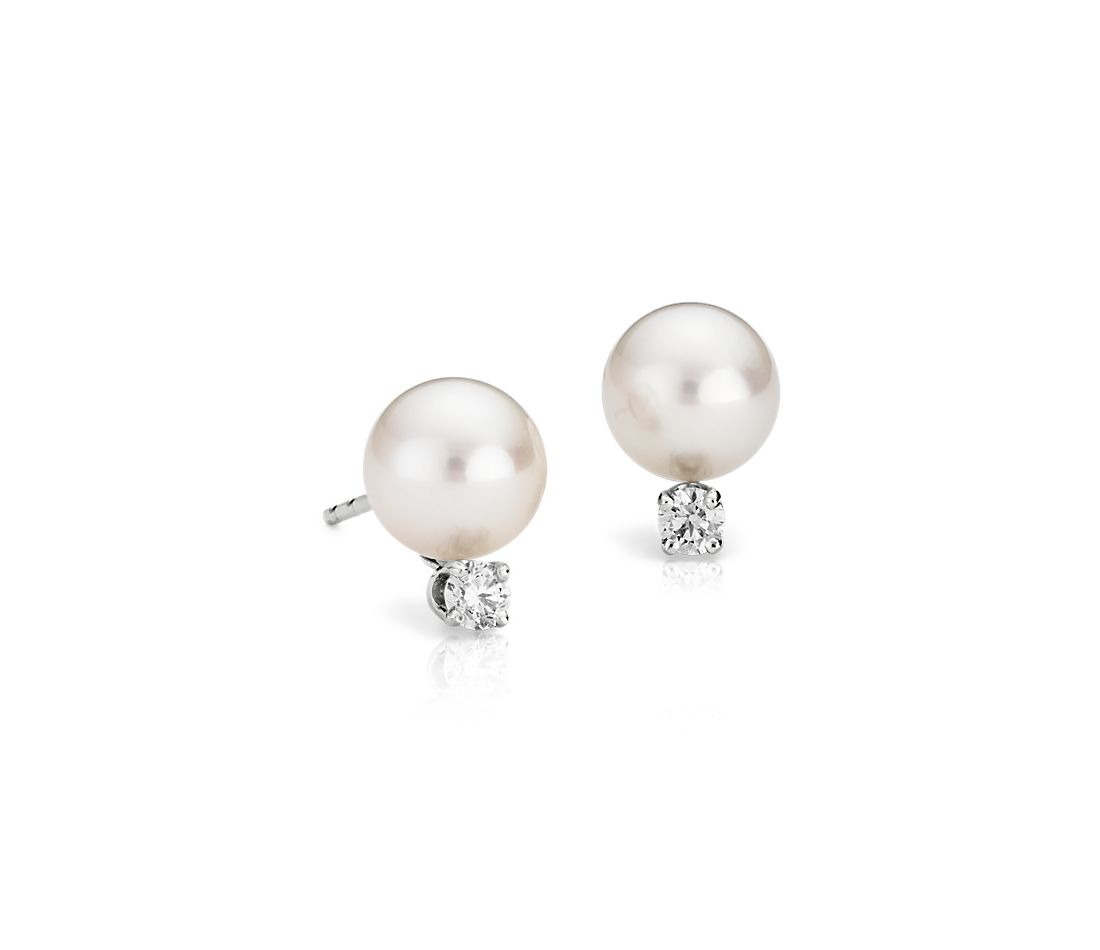 Classic Akoya Cultured Pearl and Diamond Earrings in 18k White Gold (7.0-7.5mm)
