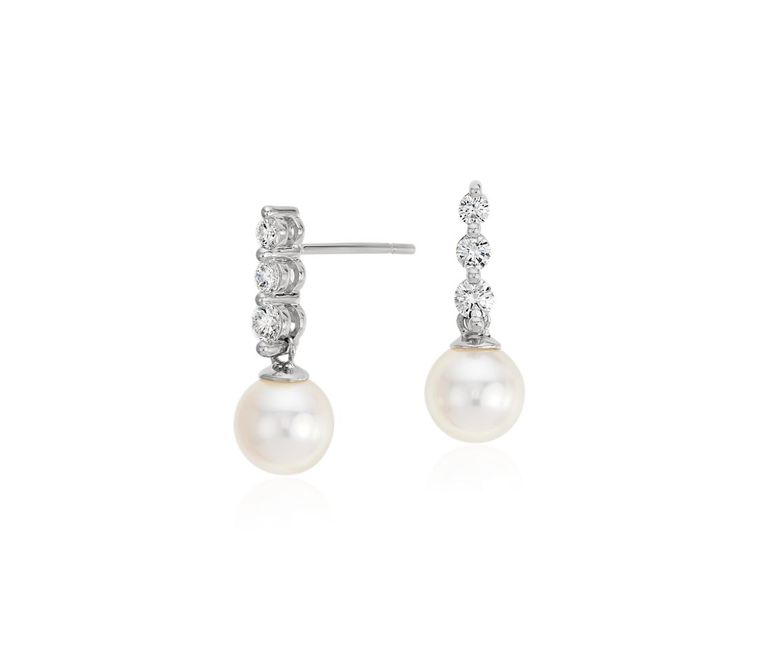 Akoya Cultured Pearl And Diamond Drop Earrings In 18k White Gold (65mm)