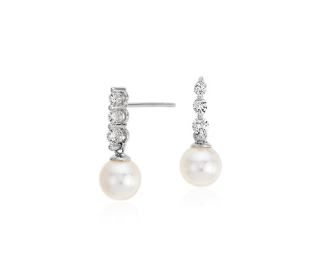 Akoya Cultured Pearl and Diamond Drop Earrings in 18k White Gold (6.5mm)