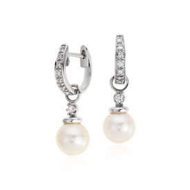 Akoya Cultured Pearl and Pavé Diamond Hoop Earrings in 18k White Gold (6.5mm)