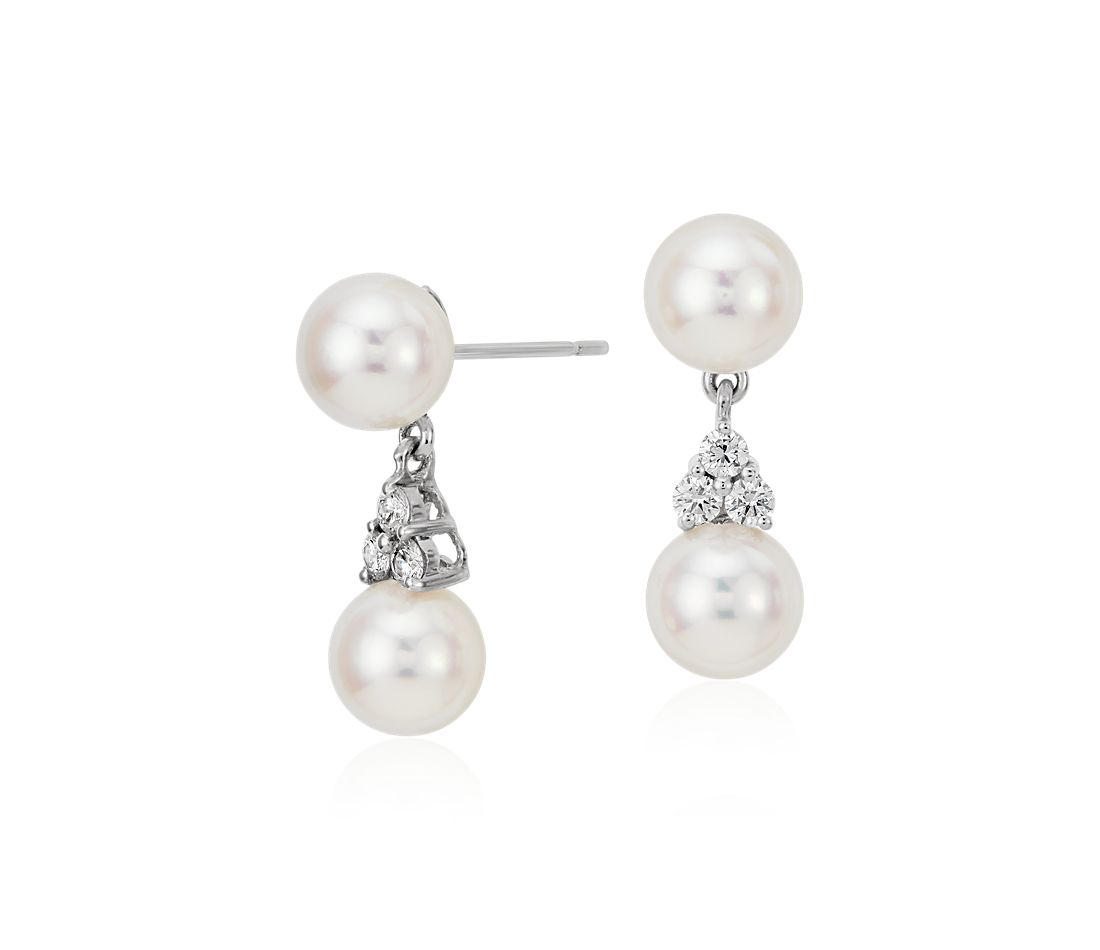 Premier Akoya Cultured Pearl And Diamond Drop Earrings In
