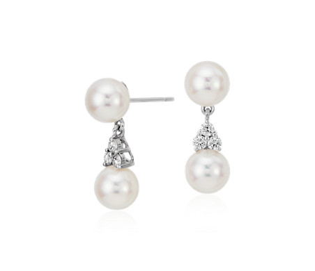 Premier Akoya Cultured Pearl and Diamond Drop Earrings in 18k White Gold (7mm)