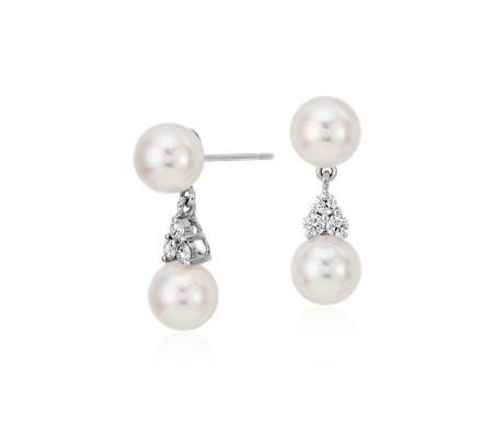 Pendants d'oreilles diamant et perles de culture d'Akoya de la plus haute qualité en or blanc 18carats (7mm)