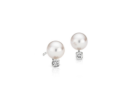 Classic Akoya Cultured Pearl and Diamond Stud Earrings in 18k White Gold (6-6.5mm)