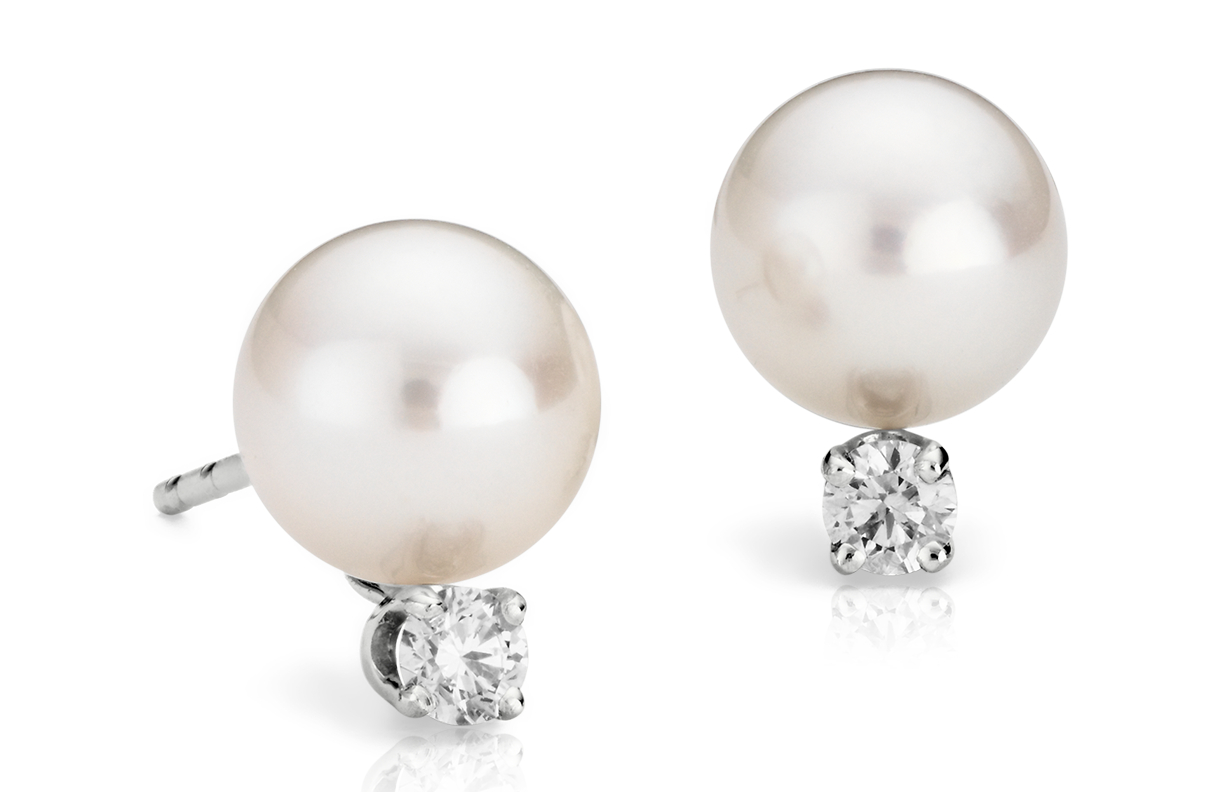 Classic Akoya Cultured Pearl and Diamond Stud Earrings in 18k White Gold (7.0-7.5mm)