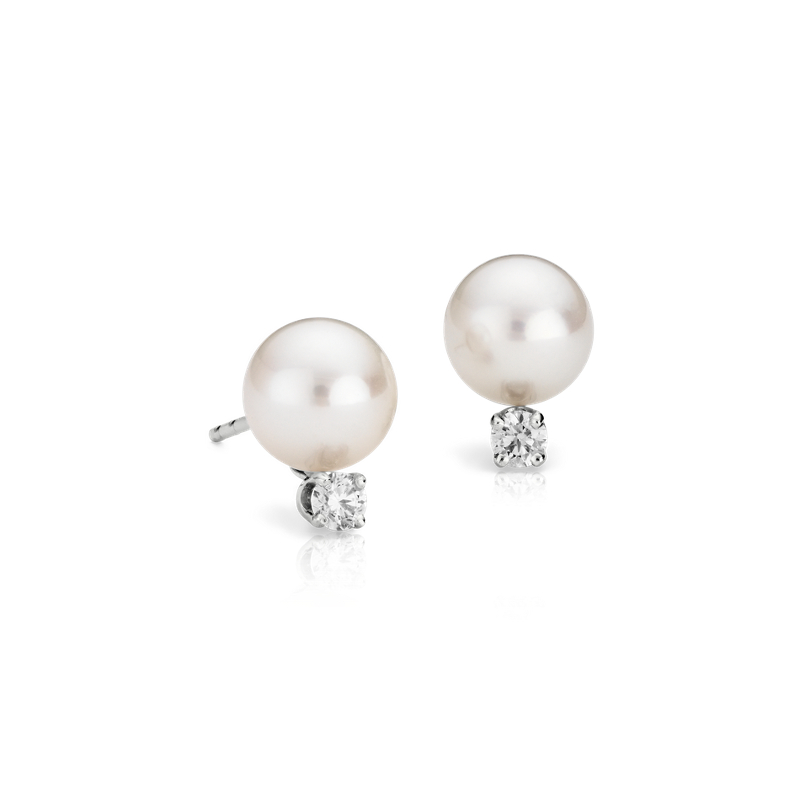 Classic Akoya Cultured Pearl and Diamond Stud Earrings in 18k Whi