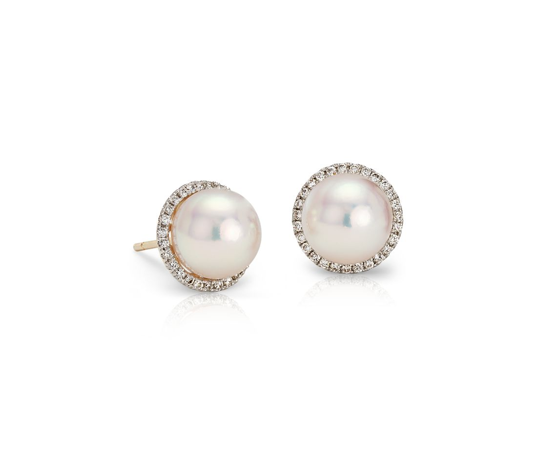 Akoya Cultured Pearl And Diamond Halo Stud Earrings In 14k Yellow Gold 8mm