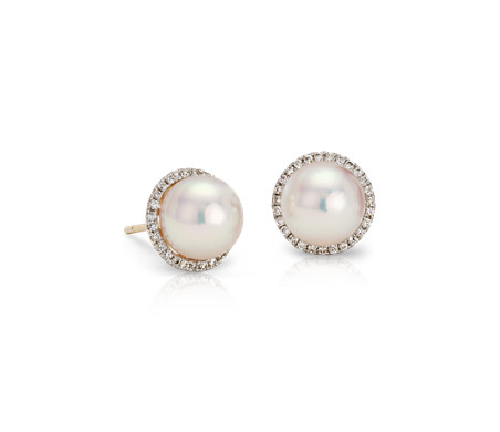 Blue Nile Freshwater Cultured Pearl Stud Earrings in 14k White Gold (8mm)