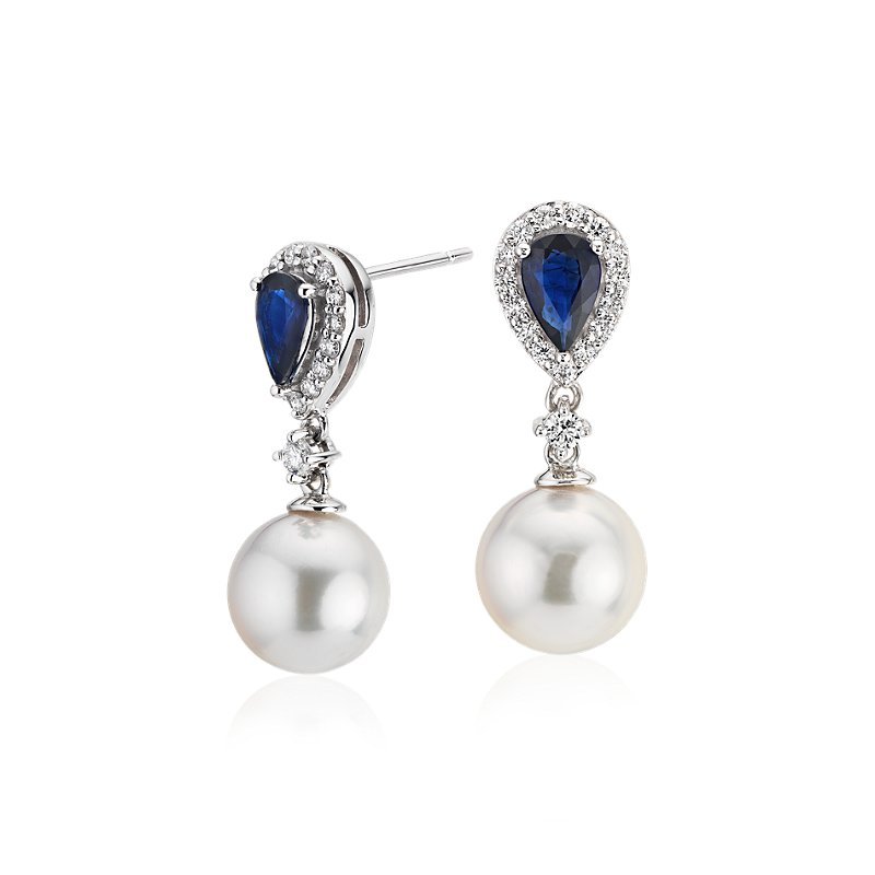 Classic Akoya Cultured Pearl Drop Earrings with Sapphire and Diam