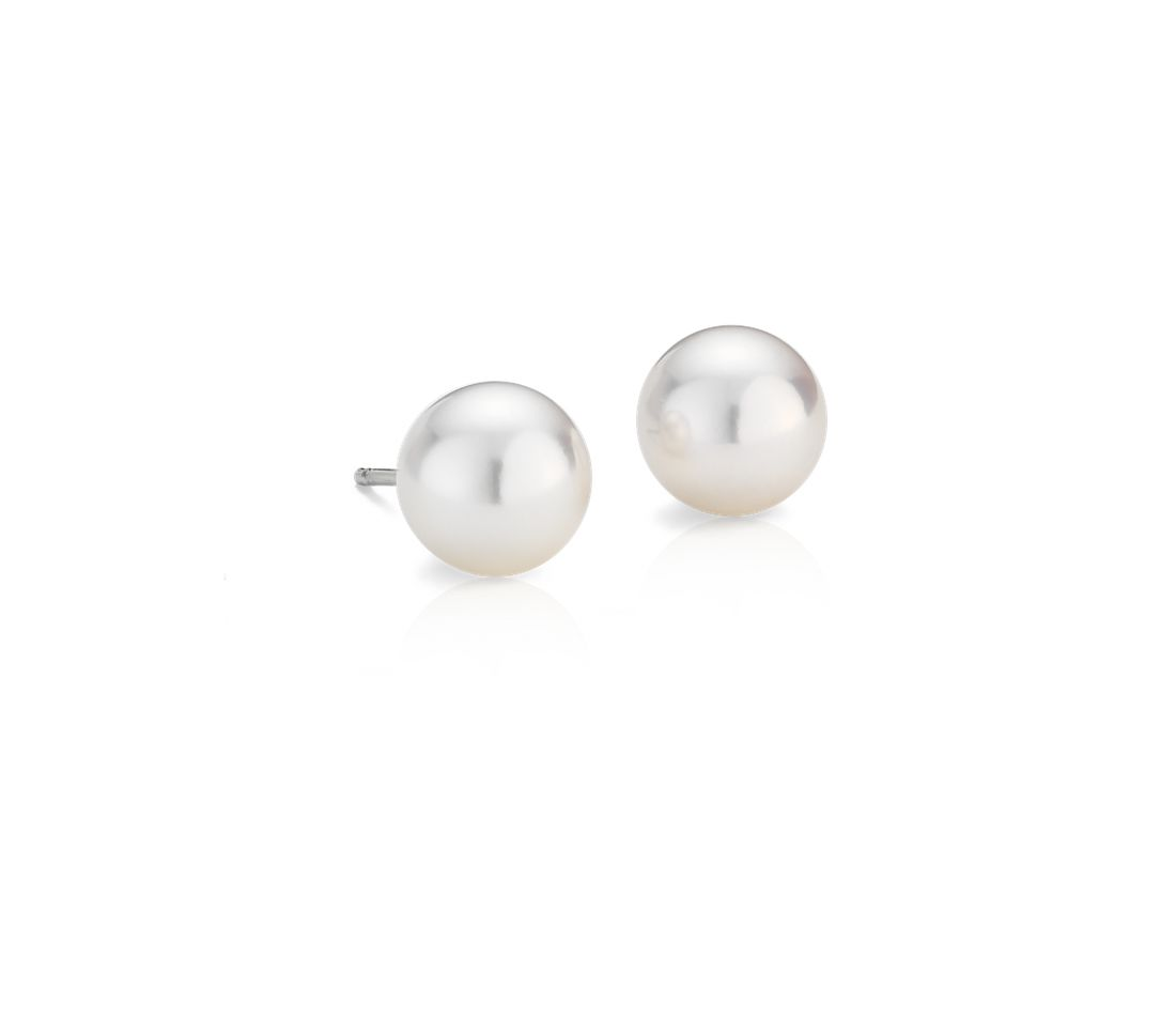 Classic Akoya Cultured Pearl Stud Earrings in 18k White Gold (8.0-8.5mm)