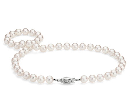 Premier Akoya Cultured Pearl Strand Necklace in 18k White Gold (7.5-8mm) 16""