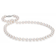 Collier de perles de culture d'Akoya classique en or blanc 18 carats (7,0-7,5 mm)