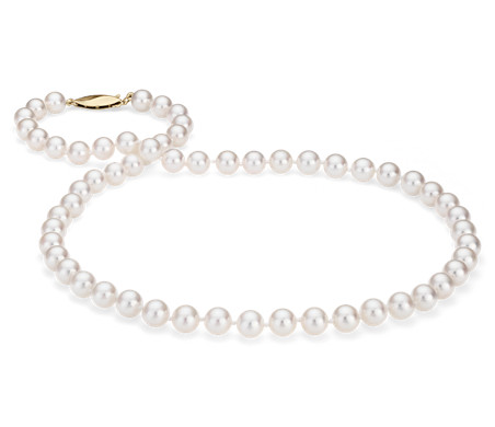 Classic Akoya Cultured Pearl Strand Necklace in 18k Yellow Gold (6.5-7.0mm)