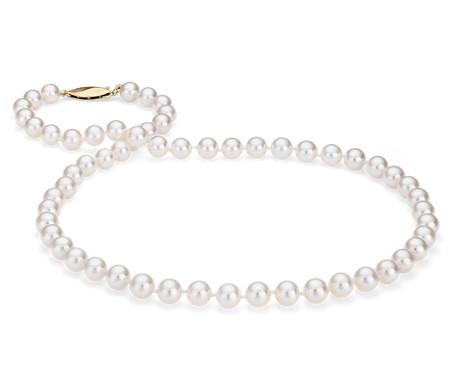 Collier de perles de culture d'Akoya classique en or jaune 18carats (6,5-7,0mm)