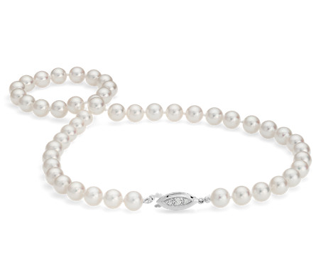 Premier Akoya Cultured Pearl Strand Necklace with 18k White Gold (7-7.5mm) 16""
