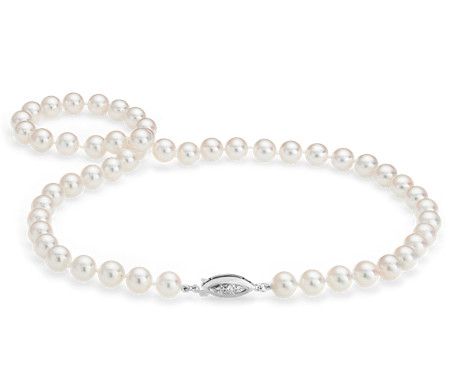 Blue Nile Premier Akoya Cultured Pearl Strand Necklace with Diamond Clasp in 18k White Gold (6.5-7.0mm) d6IN5xqPM