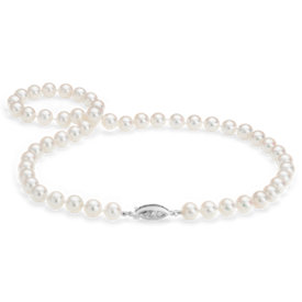 Premier Akoya Cultured Pearl Strand Necklace with Diamond Clasp in 18k White Gold (7.5-8.0mm)