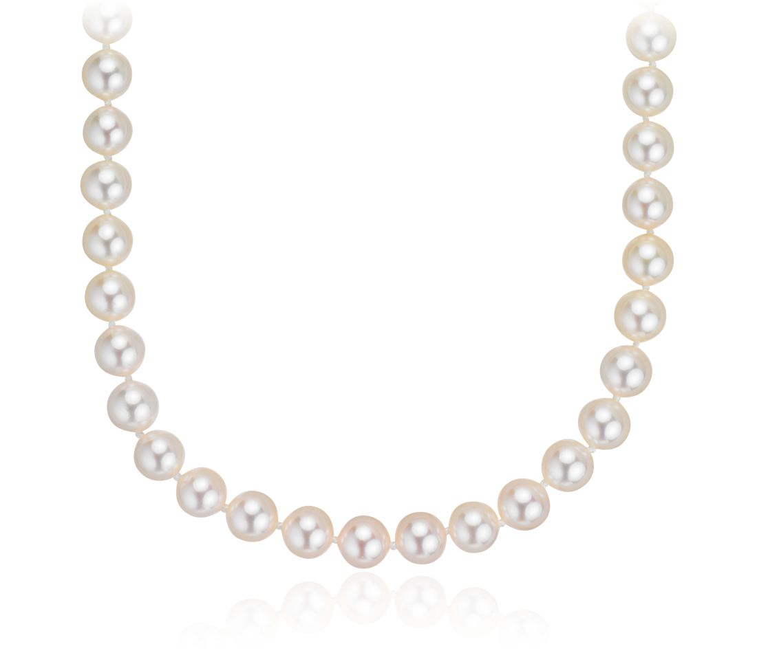 "Classic Akoya Cultured Pearl Strand with 18k White Gold (6.5-7.0mm) 18"" Long"