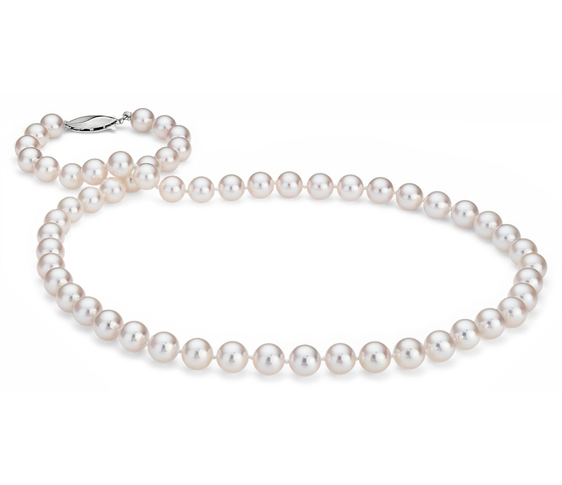 Classic Akoya Cultured Pearl Strand Necklace in 18k White Gold (7.0-7.5mm)