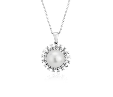 South Sea Cultured Pearl Pendant with Scattered Diamond Halo in 18k White Gold