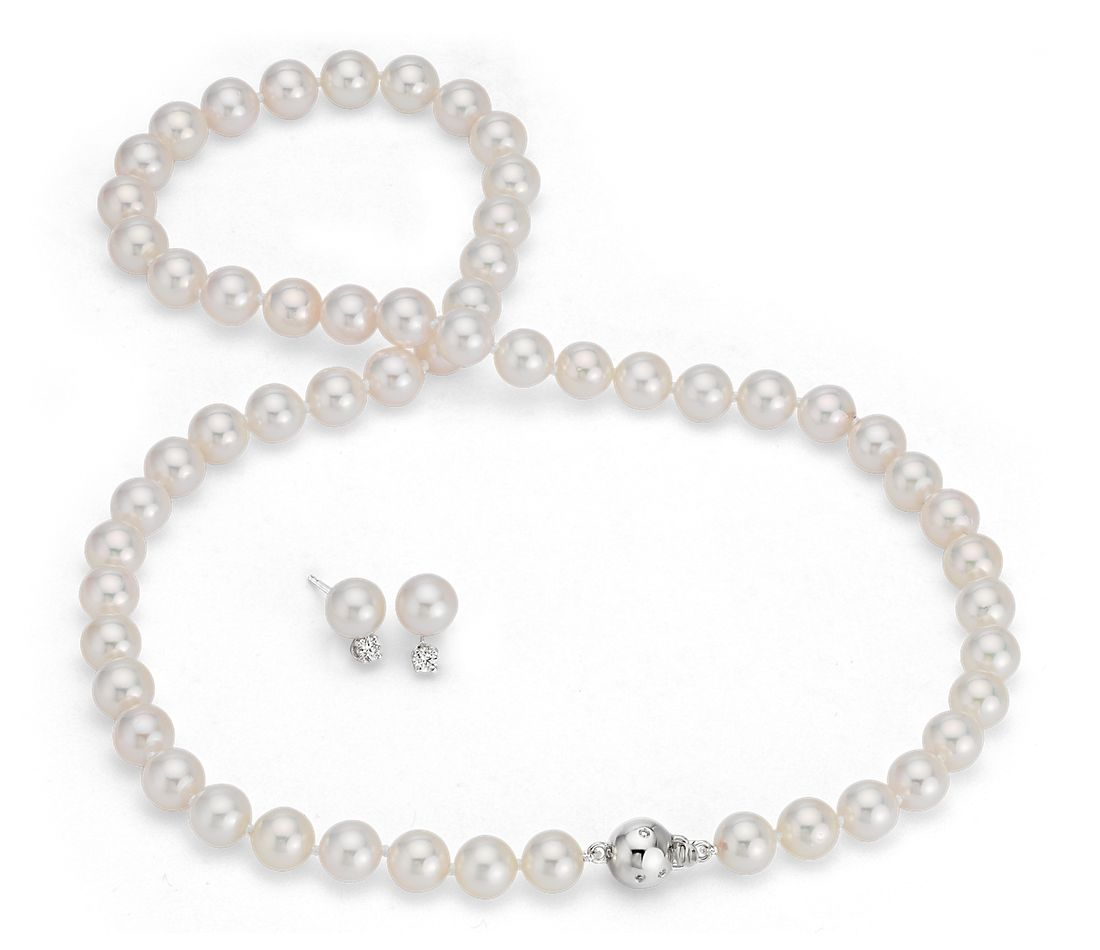 Blue Nile Studio Classic Akoya Cultured Pearl Strand and Earring Set in 18k White Gold (7-7.5mm)