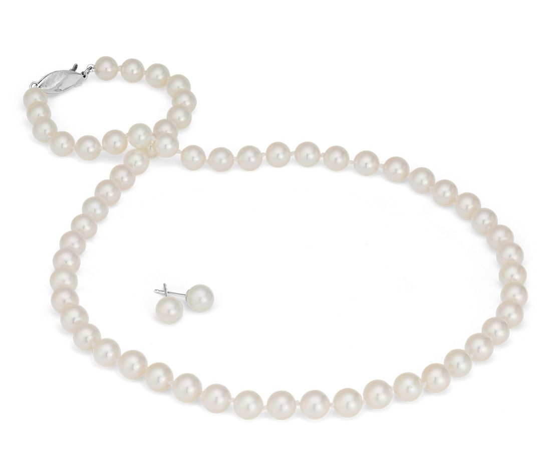 Classic Akoya Cultured Pearl Stud Earrings and Strand Necklace Set in 18k White Gold (6.5-7mm)