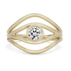 NEW ALMASIKA 'Serene' Bezel-Set Diamond Engagement Ring in 18k Yellow Gold
