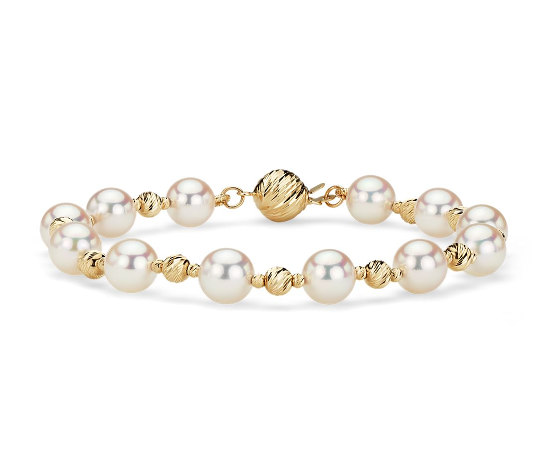 Alternating Akoya and Gold Bead Bracelet in 14k Yellow Gold (7.5-8 mm)