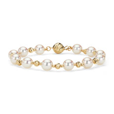 Alternating Akoya and Gold Bead Bracelet in 14k Yellow Gold