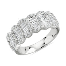 新款 14k 白金长方形钻石和圆形钻石渐变戒指1 1/6 克拉总重量)