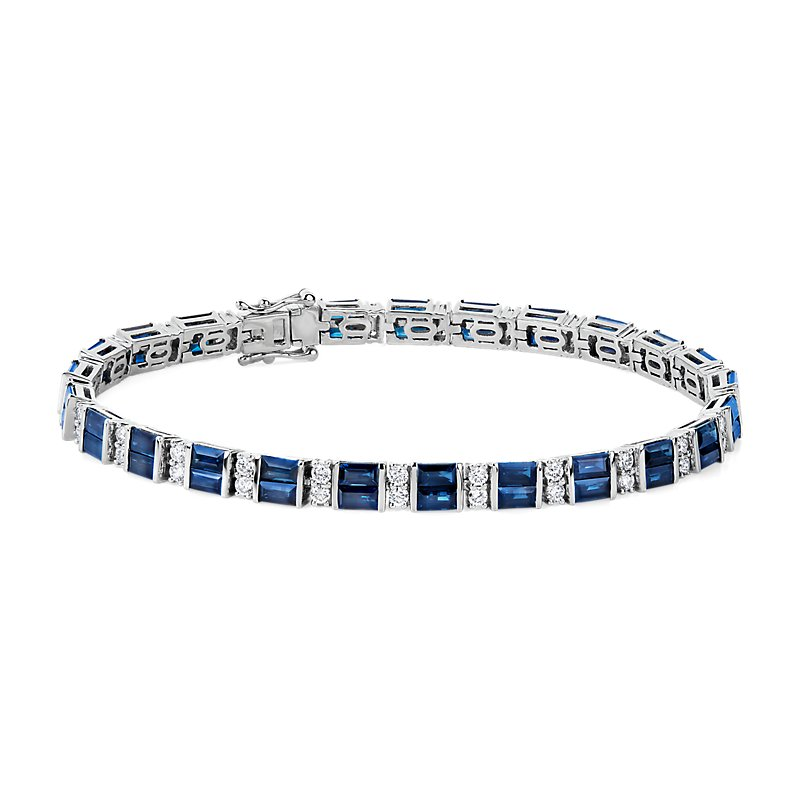 Alternating Baguette Blue Sapphire and Round Diamond Bracelet in