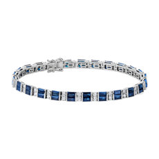 Alternating Baguette Blue Sapphire and Round Diamond Bracelet in 14k White Gold