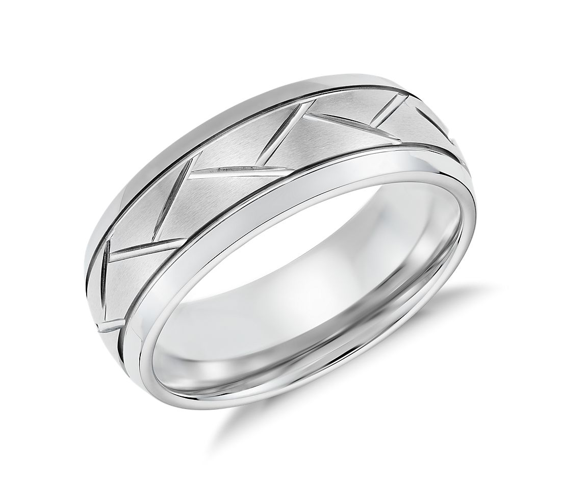Alternating Diagonal Cut Wedding Ring in White Tungsten Carbide (8mm)