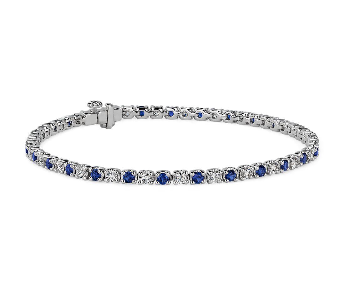 14k 白金钻石和蓝宝石交错排列手链