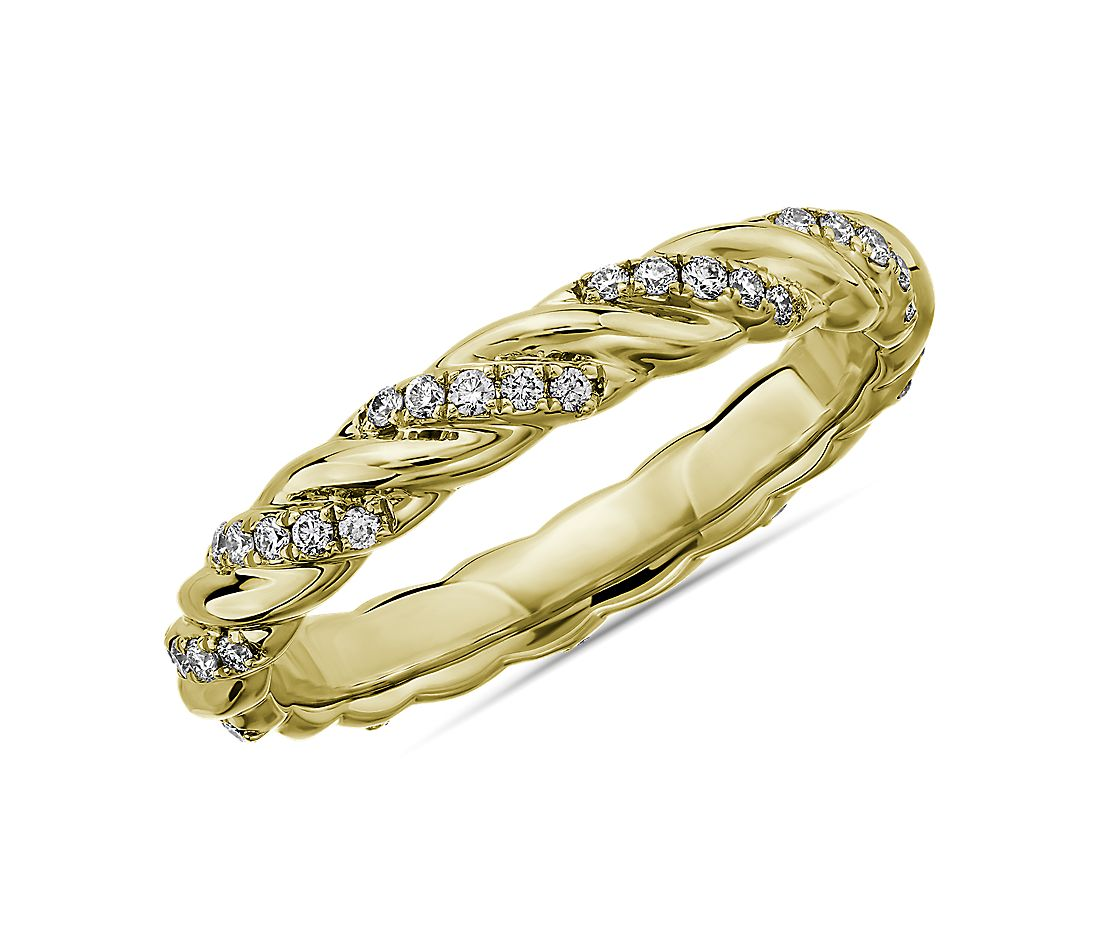 Alternating Diamond Rope Eternity Ring in 14k Yellow Gold - I/SI2  (1/4 ct. tw.)