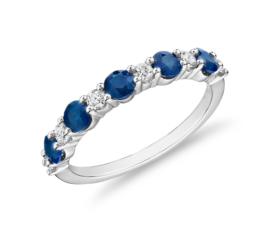 Alternating Diamond and Sapphire Ring in 14k White Gold