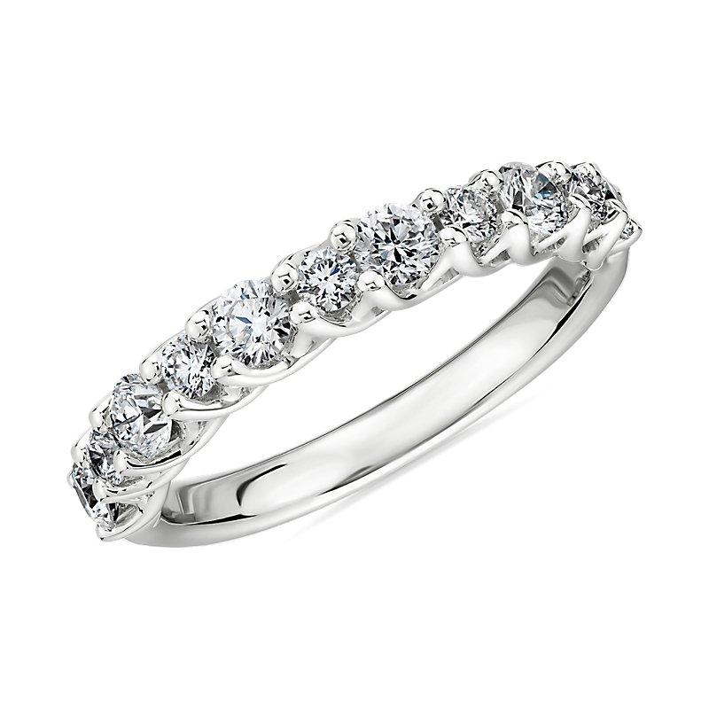 Alternating Diamond Tessere Wedding Ring in 18k White Gold- H/VS2
